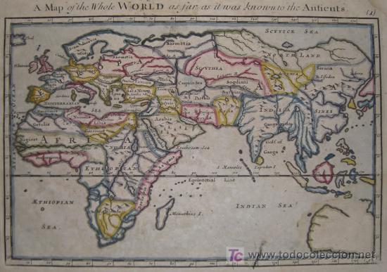 Arte: Mapa del Mundo Antiguo de Moll, 1753 - Foto 3 - 18575864