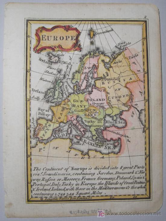 Arte: Mapa de Europa de Gibson, 1759 - Foto 2 - 18576012