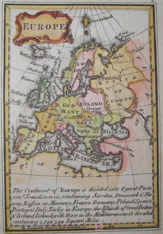 Arte: Mapa de Europa de Gibson, 1759 - Foto 3 - 18576012