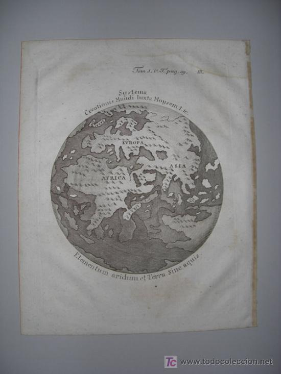 Arte: Mapa del Mundo titulado Systema Creationis Mundi Iuxta Moysem. Autor anónimo,1789 - Foto 2 - 18577151