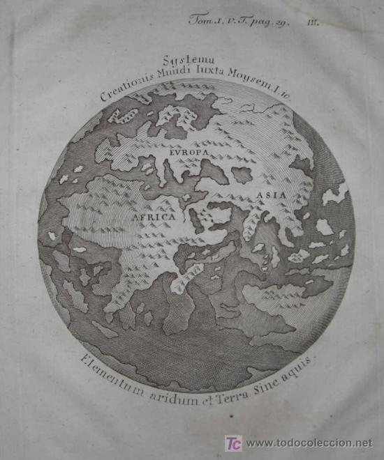 Arte: Mapa del Mundo titulado Systema Creationis Mundi Iuxta Moysem. Autor anónimo,1789 - Foto 4 - 18577151