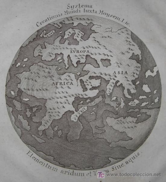 Arte: Mapa del Mundo titulado Systema Creationis Mundi Iuxta Moysem. Autor anónimo,1789 - Foto 5 - 18577151