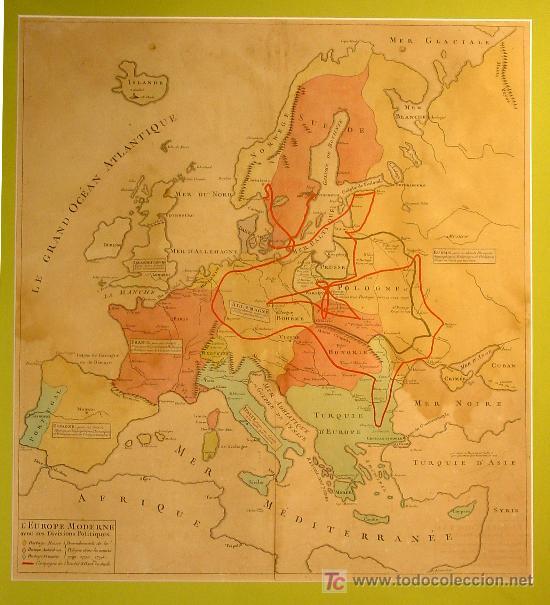 PRECIOSO MAPA DE EUROPA. PLANCHA DE COBRE COLOREADO EN LA EPOCA. (Arte - Cartografía Antigua (hasta S. XIX))