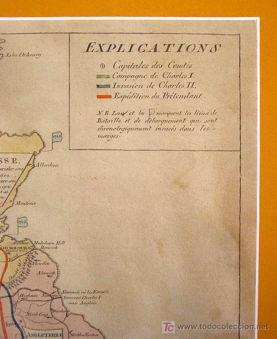 Arte: PRECIOSO MAPA DE LAS ISLAS BRITÁNICAS. S. XVIIII.PLANCHA DE COBRE COLOREADO EN LA EPOCA. - Foto 3 - 27047852
