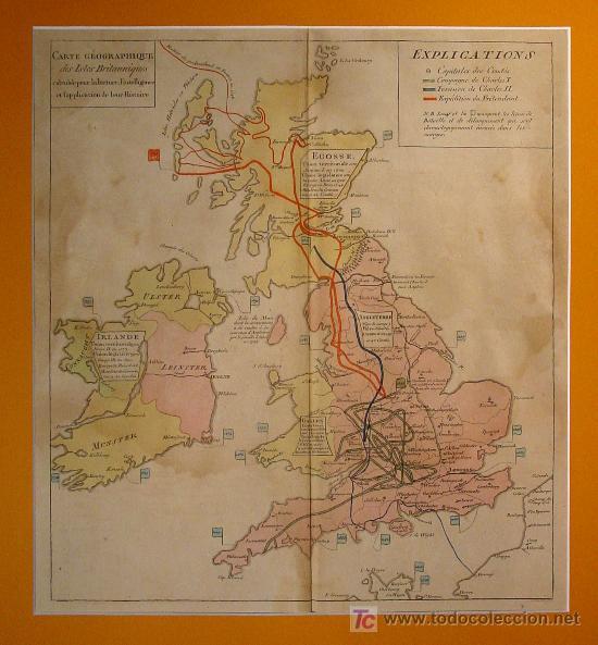 PRECIOSO MAPA DE LAS ISLAS BRITÁNICAS. S. XVIIII.PLANCHA DE COBRE COLOREADO EN LA EPOCA. (Arte - Cartografía Antigua (hasta S. XIX))
