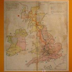 Arte: PRECIOSO MAPA DE LAS ISLAS BRITÁNICAS. S. XVIIII.PLANCHA DE COBRE COLOREADO EN LA EPOCA.. Lote 27047852