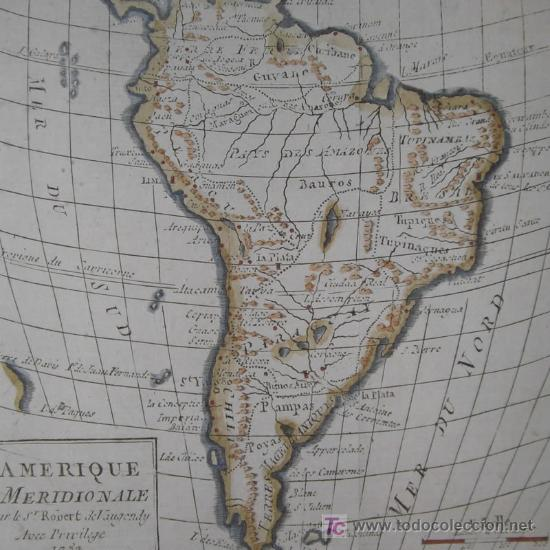 MAPA DE SUDAMÉRICA DE VAUGONDY, 1782 (Arte - Cartografía Antigua (hasta S. XIX))