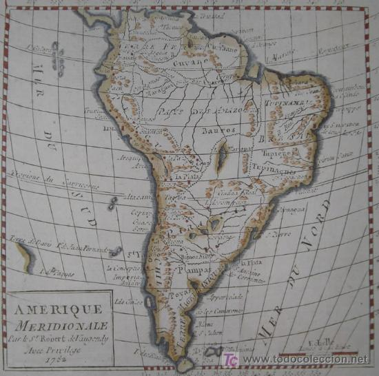 Arte: Mapa de Sudamérica de Vaugondy, 1782 - Foto 3 - 19309608
