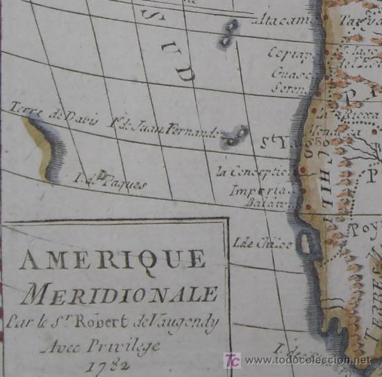 Arte: Mapa de Sudamérica de Vaugondy, 1782 - Foto 6 - 19309608