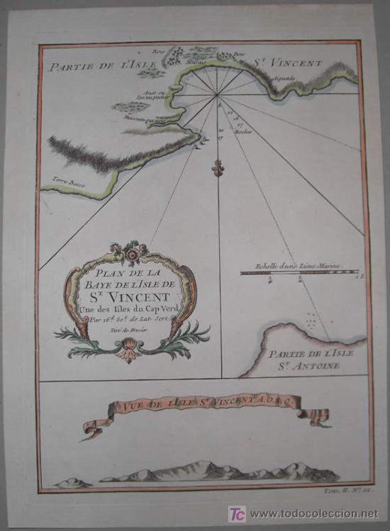Arte: Mapa del Puerto de Mindelo en Cabo Verde de Bellin, 1750 - Foto 2 - 19309538