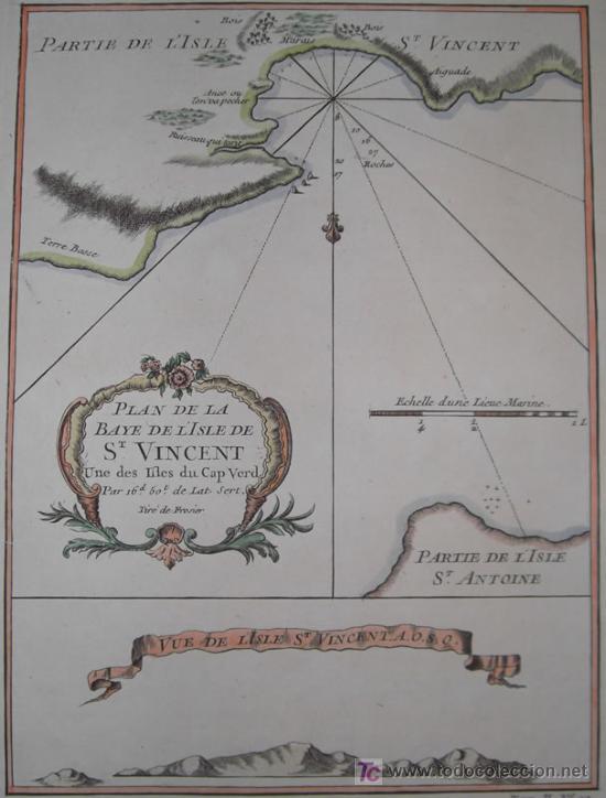 Arte: Mapa del Puerto de Mindelo en Cabo Verde de Bellin, 1750 - Foto 3 - 19309538