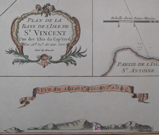 Arte: Mapa del Puerto de Mindelo en Cabo Verde de Bellin, 1750 - Foto 8 - 19309538