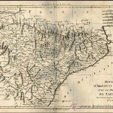 Arte: BONNE: REINOS DE ARAGÓN, NAVARRA CON EL PRINCIPADO DE CATALUÑA,(ESPAÑA) MAPA ORIGINAL 1780. Lote 26382099