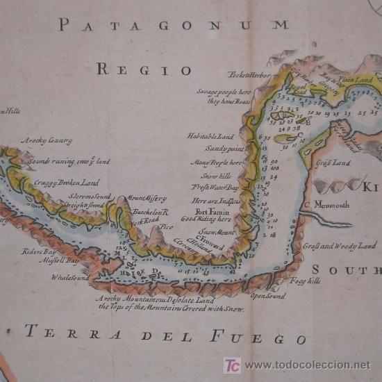 MAPA DEL ESTRECHO DE MAGALLANES DE MOLL, 1717 (Arte - Cartografía Antigua (hasta S. XIX))
