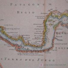 Arte: MAPA DEL ESTRECHO DE MAGALLANES DE MOLL, 1717. Lote 19402498