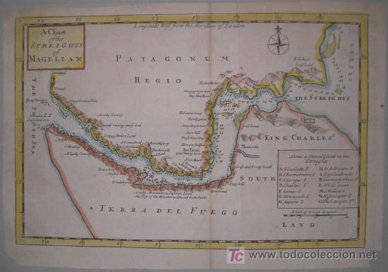 Arte: Mapa del Estrecho de Magallanes de Moll, 1717 - Foto 2 - 19402498