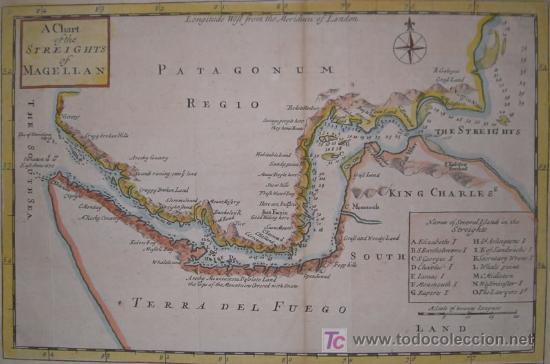 Arte: Mapa del Estrecho de Magallanes de Moll, 1717 - Foto 3 - 19402498