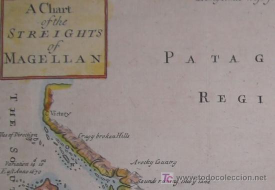 Arte: Mapa del Estrecho de Magallanes de Moll, 1717 - Foto 4 - 19402498