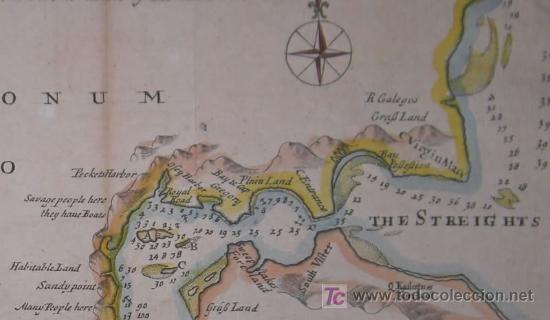 Arte: Mapa del Estrecho de Magallanes de Moll, 1717 - Foto 5 - 19402498