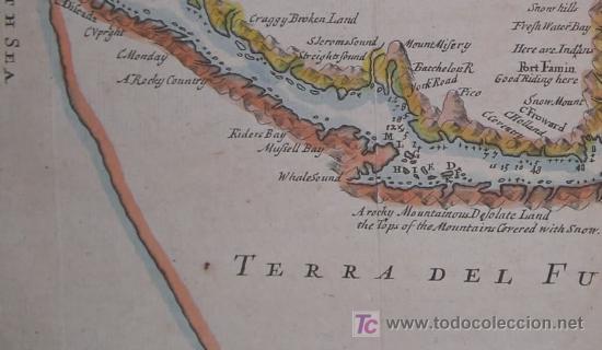 Arte: Mapa del Estrecho de Magallanes de Moll, 1717 - Foto 6 - 19402498
