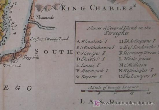 Arte: Mapa del Estrecho de Magallanes de Moll, 1717 - Foto 7 - 19402498