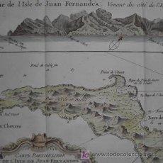 Arte: MAPA DE LA ISLA DE JUAN FERNANDEZ (CHILE) DE BELLIN, 1758. Lote 21276601