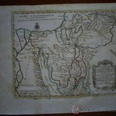 Arte: MAPA BÍBLICO, SIGLO XVIII, TRAVESÍA DEL DESIERTO, COLOREADO DE ÉPOCA.. Lote 21376668