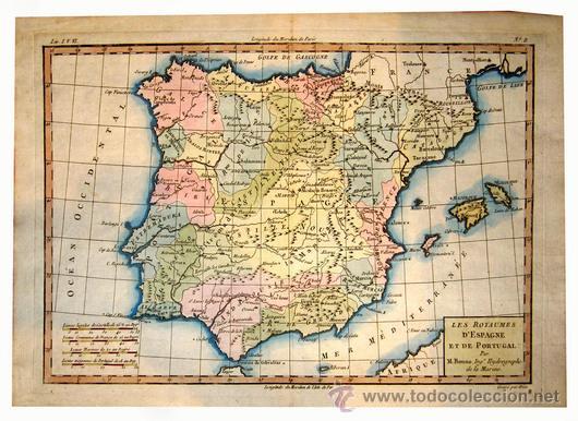 Mapa De España Bonito.1783 Mapa De Espana Iluminado A Mano Por Vendido En