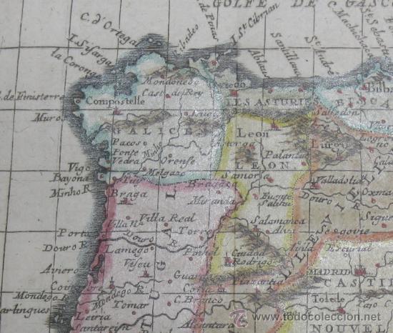 Arte: Mapa de España y Portugal de Van Loon, 1724 - Foto 4 - 23305463