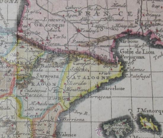 Arte: Mapa de España y Portugal de Van Loon, 1724 - Foto 5 - 23305463