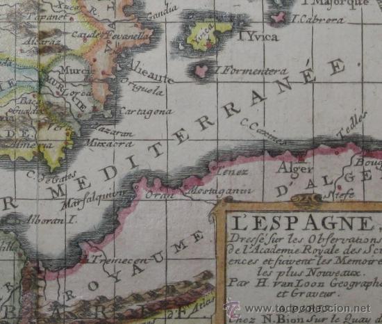 Arte: Mapa de España y Portugal de Van Loon, 1724 - Foto 7 - 23305463