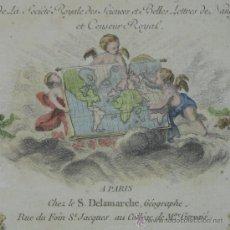 Arte: FRONTISPICIO DEL 'NOUVEL ATLAS PORTATIF' DE ROBERT DE VAUGONDY, 1784. Lote 24283120