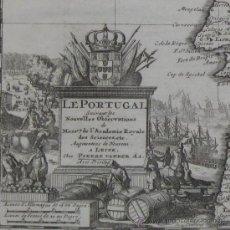 Arte: MAPA DE PORTUGAL DE PIETER VAN DER AA, 1729. Lote 24398348