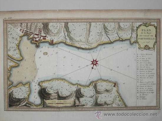Arte: Mapa de la bahía de Portobelo (Panamá) de Bellin, 1757 - Foto 3 - 25125565