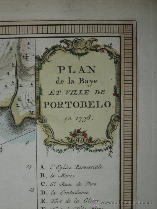 Arte: Mapa de la bahía de Portobelo (Panamá) de Bellin, 1757 - Foto 8 - 25125565