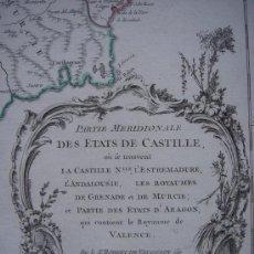 Arte: MAPA CASTILLA MERIDONAL Y VALENCIA ORIGINAL VAUGONDY 1757 , GRAN TAMAÑO 690 X 525 MM. Lote 26786018