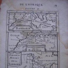 Arte: MAPA DEL NORTE DE ÁFRICA, CEUTA, MELILLA, PEÑON DE VÉLEZ, 1685, PARIS, MALLET, ORIGINAL, ESPLÉNDIDO. Lote 27111226