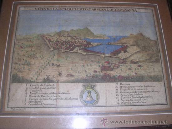 GRABADO ANTIGUO COLOREADO VISTA DE LA CIUDAD,PUERTO Y ARSENAL DE CARTAGENA 1778,ATLANTE ESPAÑOL ESPI (Arte - Cartografía Antigua (hasta S. XIX))
