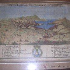 Arte: GRABADO ANTIGUO COLOREADO VISTA DE LA CIUDAD,PUERTO Y ARSENAL DE CARTAGENA 1778,ATLANTE ESPAÑOL ESPI. Lote 28494182