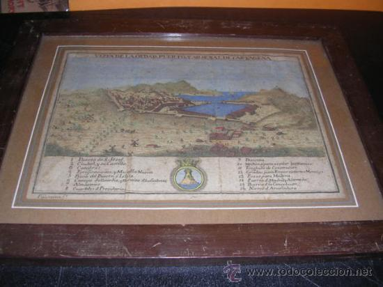 Arte: GRABADO ANTIGUO COLOREADO VISTA DE LA CIUDAD,PUERTO Y ARSENAL DE CARTAGENA 1778,ATLANTE ESPAÑOL ESPI - Foto 2 - 28494182