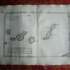 Arte: 1787-MAPA CANARIAS.LAS PALMAS.TENERIFE.FUERTEVENTURA.LANZAROTE.HIERRO.GOMERA.ORIGINAL DE BONNE.. Lote 28915553