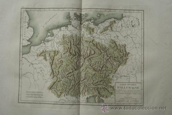 CARTE PHYSIQUE D'ALLEMAGNE. MENTELLE (E.) ET CHANLAIRE (P. G.) (Arte - Cartografía Antigua (hasta S. XIX))