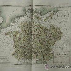 Arte: CARTE PHYSIQUE D'ALLEMAGNE. MENTELLE (E.) ET CHANLAIRE (P. G.). Lote 29257524