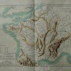 Arte: CARTE PHYSIQUE DE LA FRANCE. MENTELLE (E.) ET CHANLAIRE (P. G.). Lote 29257549