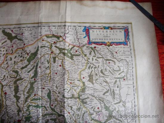 Arte: 1635-MAPA ORIGINAL BLAEU.BOURGOGNE.MORVANT. BOURGES.LAUXER.BOURBON.BERRY.FRANCIA.FRANCE - Foto 3 - 29295121
