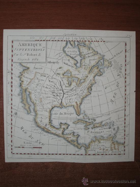Arte: Mapa de Norteamérica, Vaugondy, 1782 - Foto 2 - 29650974