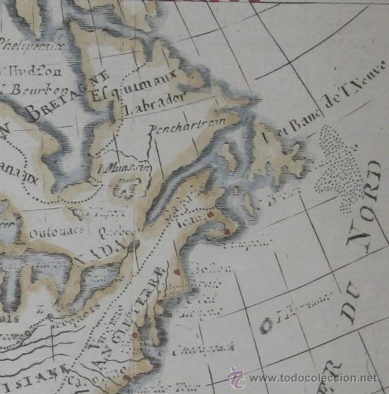 Arte: Mapa de Norteamérica, Vaugondy, 1782 - Foto 4 - 29650974