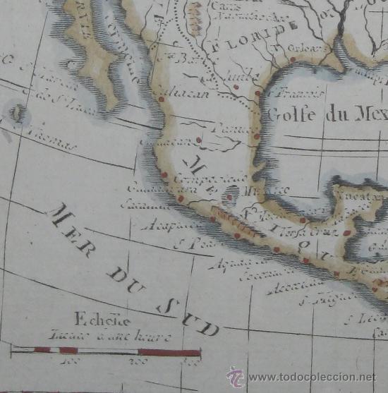 Arte: Mapa de Norteamérica, Vaugondy, 1782 - Foto 5 - 29650974
