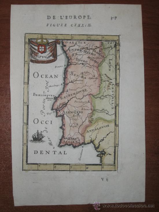 Arte: Mapa de Portugal, Mallet, 1683 - Foto 2 - 105316459