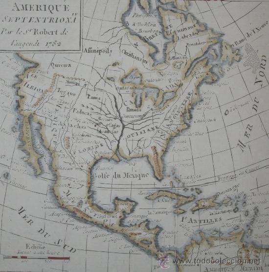 MAPA DE NORTEAMÉRICA, VAUGONDY, 1782 (Arte - Cartografía Antigua (hasta S. XIX))